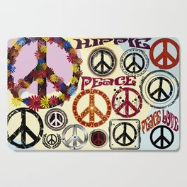 Flower Power Peace Signs Coctail Cutting Board
