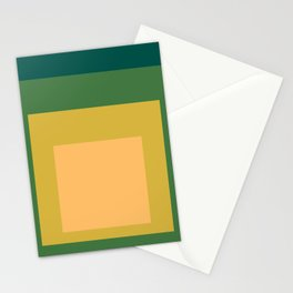 Block Colors - Green Yellow Cream Stationery Cards