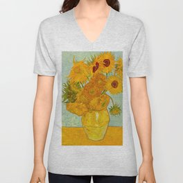 Sunflowers Oil Painting By Vincent van Gogh Unisex V-Neck