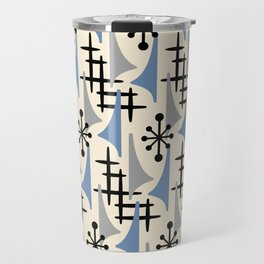 Mid Century Modern Atomic Wing Composition Blue & Grey Travel Mug
