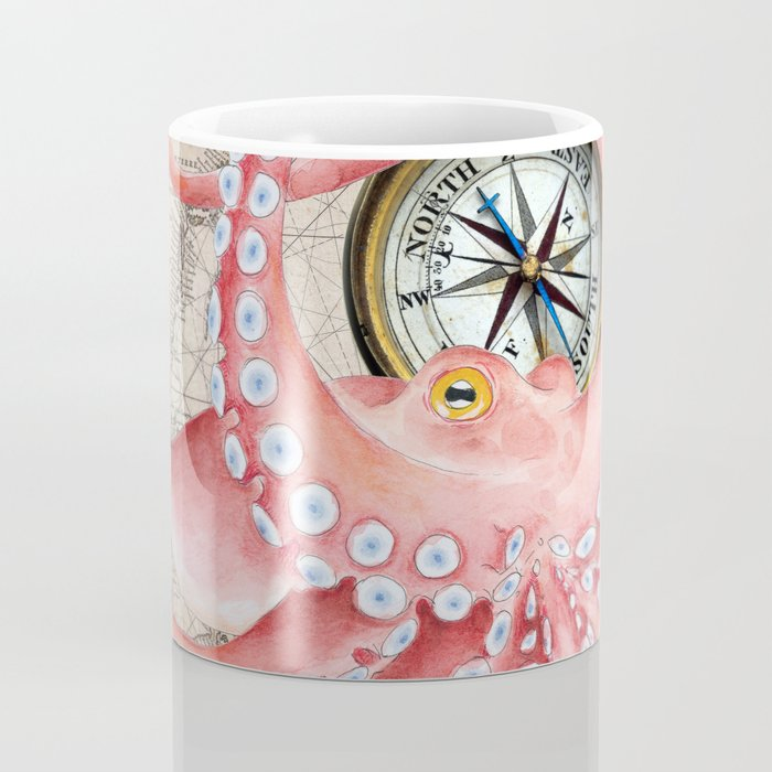 Red Octopus Vintage Map Compass Coffee Mug