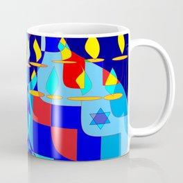 Community Hanukkah Event with Red Outline, Menorahs Coffee Mug
