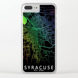 Syracuse, NY, USA, City, Map, Rainbow, Map, Art, Print Clear iPhone Case