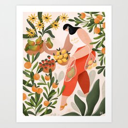 At the fruit market Art Print