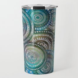 Gentle Blue Circular Tribal  pattern with silver Travel Mug