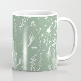 Vintage English Field Flowers - Teal Coffee Mug