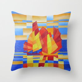 Sailing on the Seven Seas so Blue Cubist Abstract Throw Pillow
