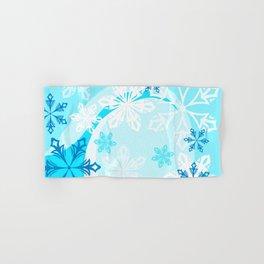 Blue Flower Art Winter Holiday Hand & Bath Towel