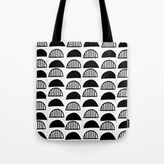 Scallop linocut black and white minimal pattern design inky textured scallops Tote Bag