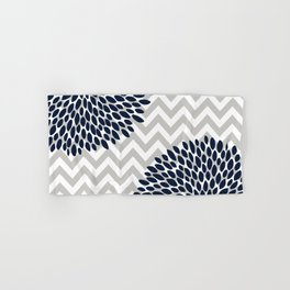 Chevron Floral Modern Navy and Grey Hand & Bath Towel
