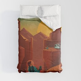 SpaceX Travel Poster: Valles Marineris, Mars Comforters
