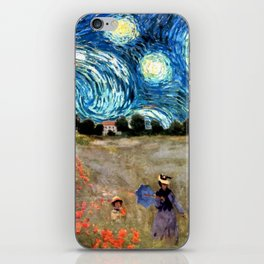 Monet's Poppies with Van Gogh's Starry Night Sky iPhone Skin