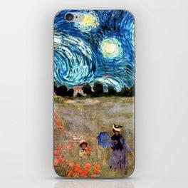 Monet's Poppies with Van Gogh's Starry Night Sky iPhone Skin