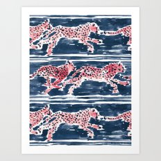 SPEEDY CHEETAHS - NAVY Art Print