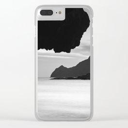 Half Moon Beach. Vela Tower Cliff. Bw Clear iPhone Case