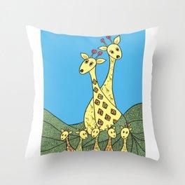 Giraffe Fashion Show  Throw Pillow
