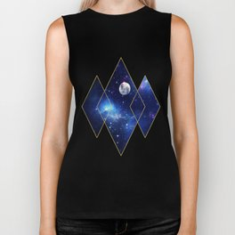 Celestial Print, Night Sky, Galactic Sky, Moon Biker Tank