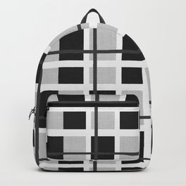 Black, White and Gray Plaid Pattern Backpack