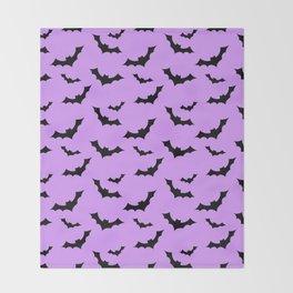 Black Bat Pattern on Purple Throw Blanket