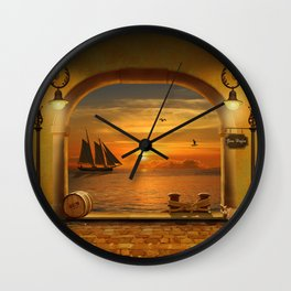 Gateway to the harbor Wall Clock