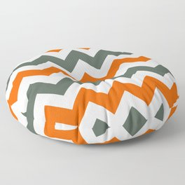 Chevron Pattern In Russet Orange Grey and White Floor Pillow