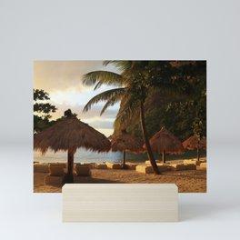 Caribbean Sea Mount Python tropical islands beach umbrellas Saint Lucia Caribbean islands travels Mini Art Print