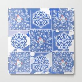 Snowflakes and Snowman Metal Print