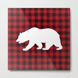 Red Plaid Bear Metal Print
