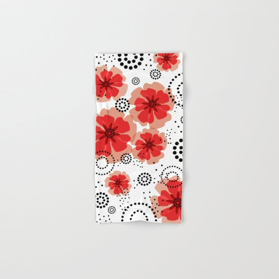 PEPPER POPPIES | red Hand & Bath Towel