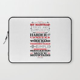 "Steve Jobs ""Focus and simplicity"" quote print Laptop Sleeve"
