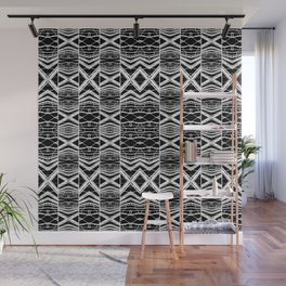 Ethnic Black and White Pattern Wall Mural