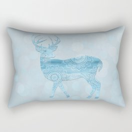 Aqua Blue Christmas Deer Rectangular Pillow