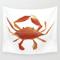 crab Wall Tapestries featuring Clementine Crab by Darrah Gooden