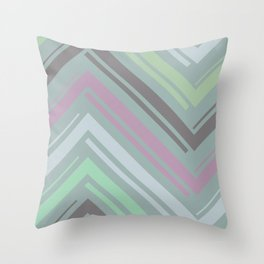 Teal Zigzag Line Pattern Throw Pillow