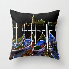 Sailboats at Night Throw Pillow