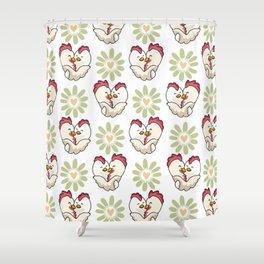 Vector chick hug daisy heart flower Shower Curtain
