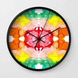 Rainbow Rorschach II Abstract Design Wall Clock