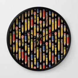 Tiny Pencils Black Wall Clock