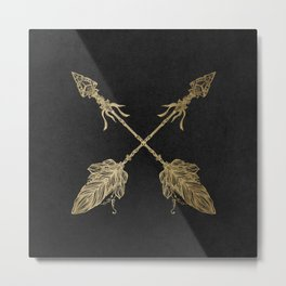 Gold Arrows on Black Metal Print