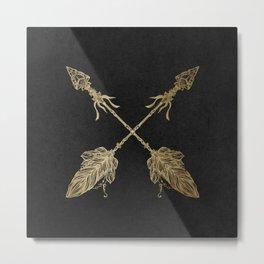 Gold Arrows on Black Metal Print