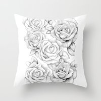 roses Throw Pillows featuring roses by iphigenia myos