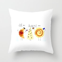 eat and travel Throw Pillow