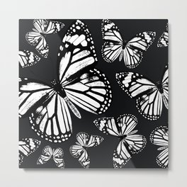 Monarch Butterflies | Monarch Butterfly | Vintage Butterflies | Butterfly Patterns | Black and White Metal Print