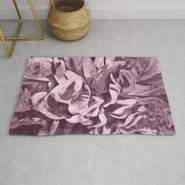 Sepia Pink Painted Peony Rug