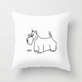 Scottish Terrier Dog woof (b/w) Throw Pillow