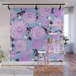 Soft calming lilac spring florals design Wall Mural
