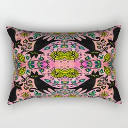 Mid Century Cat With Florals and Pink Rectangular Pillow