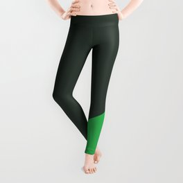 Dark Grey & Bright Green - oblique Leggings