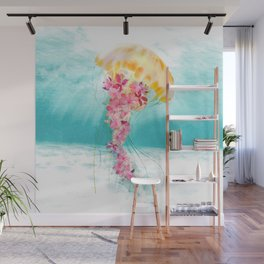 Jellyfish with Flowers Wall Mural