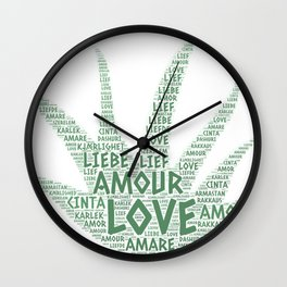 Alove Vera Plant illustrated with Love Word of different languages Wall Clock